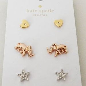 KATE SPADE Heart, Star, Elephant Stud Earrings Set